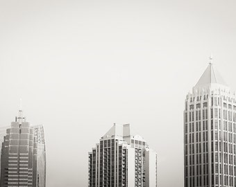 Three Buildings - City - Atlanta Georgia - Black and White - City Life - Photography - Wall Decor - Building - Three Buildings