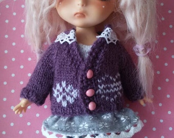 Romantic lace cardigan for Lati Yellow / Pukifee doll. Handmade sweater for bjd