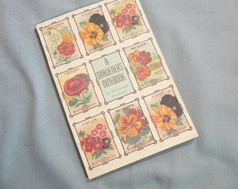 Vintage 80s A Gardeners Notebook Personal Journal Seed Packets