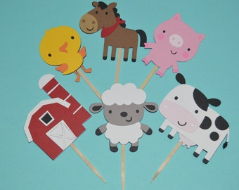 Farm Animal Cupcake Toppers 24 Barnyard Animals - On the Farm Cupcake Toppers