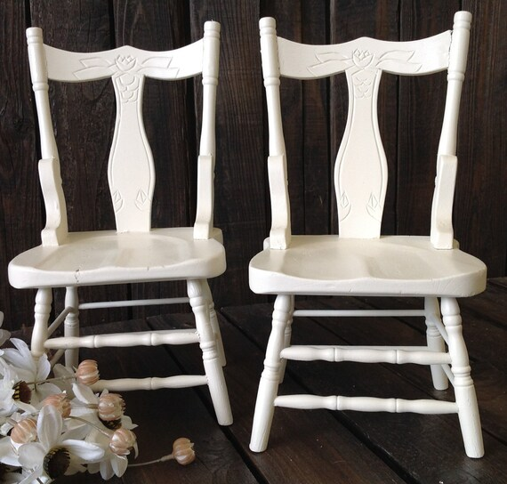 Vintage Doll Chair Set Large White Wood Doll House Furniture