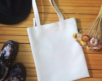 White Tote Bag Faux Leather Tote Shoulder School Bag Beach Handbag