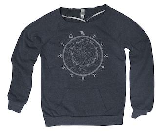 Zodiac Signs Constellation Dial Hand Screen Print Alternative Apparel Eco-Fleece Maniac Sweatshirt S,M,L,Xl 2 Colors