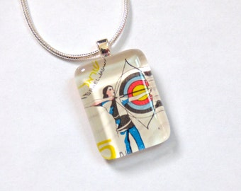OOAK Israel Postage Stamp Glass Tile Pendant Necklace Archery Israeli Target Travel Memory Recycled Repurposed Upcycled Material Jewelry