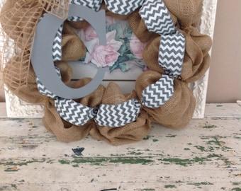 24in burlap wreath with grey initial