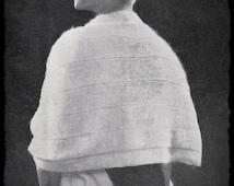 Vintage Retro Knitting Pattern Ladies Angora Wool Stole Cape Shawl Opera Wedding 64 in/160 cm  PDF