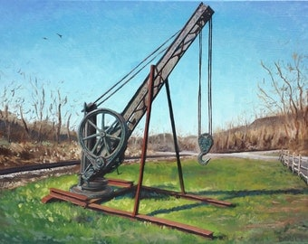 """Curtin Crane, Oil on 24x18"""" canvas, Sean Bodley Original Oil Landscape Painting - Industry History Art Painting - Pennsylvania Painting"""