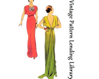 1930s Ladies Evening Gown With Train - Reproduction Sewing Pattern #T6573