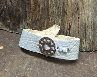 leather, steel + moonstone cuff
