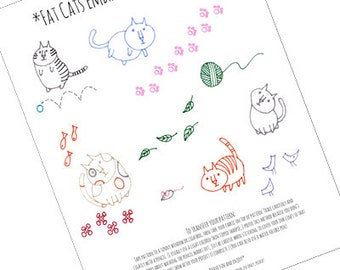 Fat Round Cats Tiny Embroidery Patterns Set Kitty Cat Digital Downloadable PDF Hand Embroidery 0018