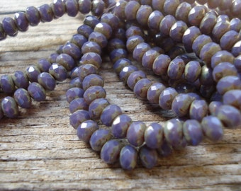 Purple with picasso finish 5x3mm czech rondelles, dusty lavendar, grape czech beads