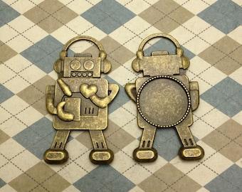 4pcs antique bronze color metal robot charm , metal robot pendant with 20mm diameter tray frame setting