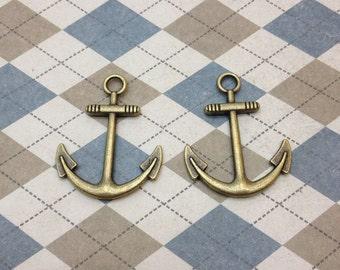 20 Pcs Antique Bronze Anchor Charm Nautical Charm Sailor Charm Pirate Vintage Style Pendant Charm 25mmx30mm