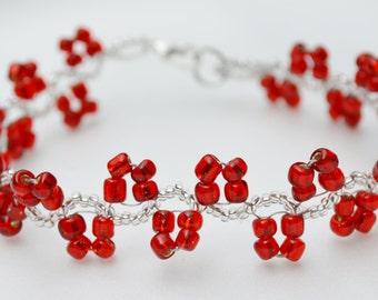 Candy Apple Red Beaded Bracelet