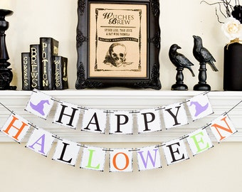 Happy Halloween Banner, Halloween Decor, Halloween Party, Happy Halloween Witches, Trick or Treat Sign
