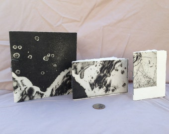 Tiny Blank Books, abstract with black gray with swirl by Erica Schisler of Forty Elephants - 3 in the group