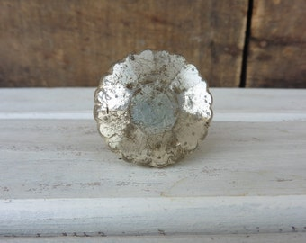 SILVER Mercury Vintage = FLARE CUT = Distressed Crystal Glass Knob = Drawer Pull - Antique Romantic Country