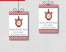 Boy Teddy Bear Picnic Favor Tags - Boy Teddy Bear Picnic Birthday Party - Digital Design or Handcrafted Tags - FREE SHIPPING