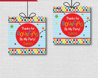 Bouncy Ball Birthday Favor Tags - Bouncy Ball Birthday Party - Ball Party Theme - Digital Design or Handcrafted Tags - FREE SHIPPING