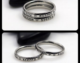 """Hand-Stamped Stacking 3mm *Shiny Finish* """"I Love You A Bushel And A Peck"""" Stainless Steel Name Rings Set"""