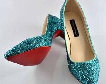 Custom handmade Swarovski Crystal Glitter Bridal Medium Heel My something blue teal red sole closed pump court