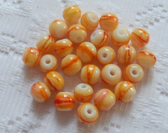 27  Yellow & Red Swirled Round Glass Beads  8mm