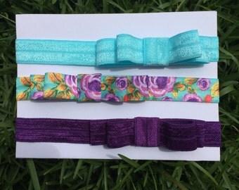 Set of Three Bow Headbands for Newborns, Infants, Toddlers, & Girls. Newborn Headband, Baby Headband, Bow Headband