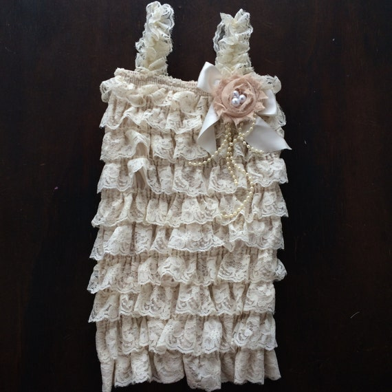 Beige Lace Romper with Pearly Bow Flower