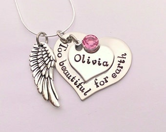 Personalised memorial necklace - Too beautiful for earth - angel wing necklace - remembrance necklace - bereavement gift, in memory necklace