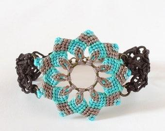 Macrame mandala flower textile bracelet boho turquoise brown