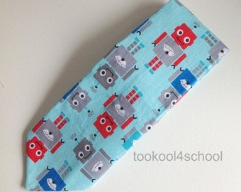 Adult bright blue robot tie fabric tie blue red futuristic clockwork retro robot