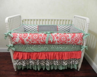Custom Baby Bedding Set Taryn  - Girl Baby Bedding, Coral Baby Bedding, Gray Chevron, and Mint Crib Bedding