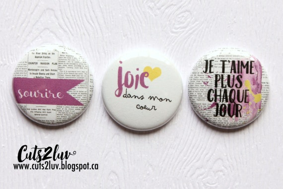 """3 Badges 1"""" Joie dans mon coeur"""