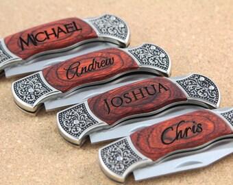 Groomsmen Knives, ONE PERSONALIZED Custom Engraved Pocket Knife, Groomsman Gift, Groomsmen Gifts, Personalized Knife, Wedding Gifts WK2