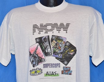 80s Now Comics Supercops Neon Nights Bats Cats Cadillacs White Vintage t-shirt Large