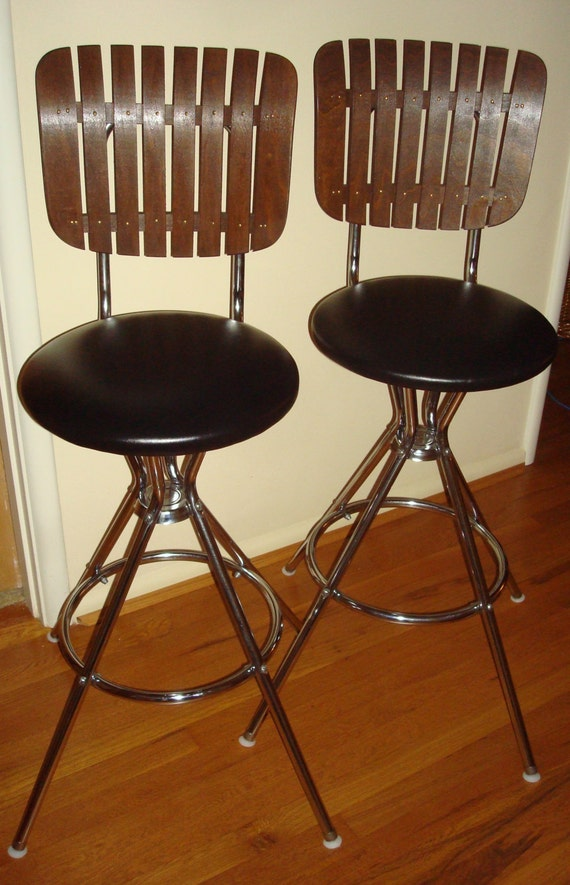 Pair Vintage Swivel Wood Slat Bar Stools By Myregenerationshop