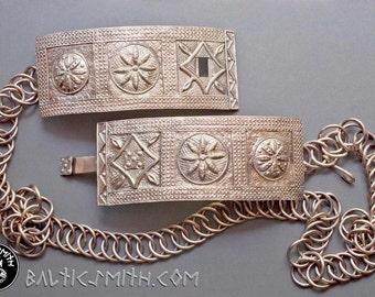 Alsungas slenģene ethnographic Latvian bronze chain belt