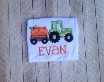 Halloween shirt - Pumpkin shirt - Tractor with pumpkins Applique shirt - Fall applique shirt - Boy shirt - Girl shirt - farm shirt