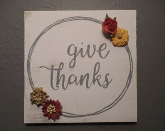 Give Thanks wood sign thanksgiving fall