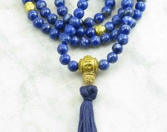 Raja Mala - Lapis Lazuli Wrist Wrap Mala Beads- Buddhist Prayer Beads, 108 Mala Beads - meditation, awareness, royal virtue