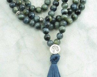 Virya Mala - Blue Tiger Eye Wrist Wrap Mala Beads- Buddhist Prayer Beads, 108 Mala Beads - balance, vitality, grounding, centering