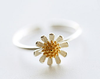 925 Sterling Silver Daisy Flower Spring Adjustable Silver Ring 920