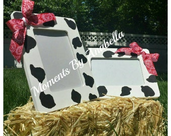 Cow Print Picture Frames- Set of 2. Western Theme Party,  Decor,  Head Table Decor, Cowgirl &  Cowboy Party