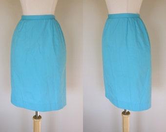 1950's teal pencil skirt, high waist skirt, knee length skirt, Koret of California, XS, US 4