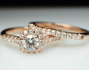 Rose Gold Engagement Ring & Matching Wedding Band Solitaire Diamond Halo Bridal Set Natural Diamond Custom Made Jewelry Round Diamond