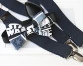 Star wars bow-tie & Navy elastic suspender set