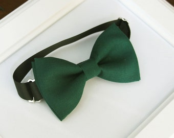 Hunter green bow-tie for babies, toddlers, boys, teens, adults - Adjustable neck-strap