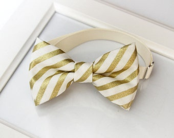 Gold and Creamy White Stripes Bow-tie for babies, toddlers, boys and teens - gold bow tie - cotton bow tie - Wedding bow tie