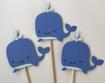 Whale Centerpiece, 3 Piece Whale Centerpiece, Whale Birthday, Whale Baby Shower