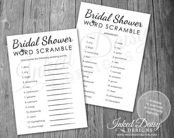 INSTANT DOWNLOAD Bridal Shower Word Scramble Game, Wedding Game, Word Scramble, Shower Game, Bling Game, Wedding Game, Digital Download